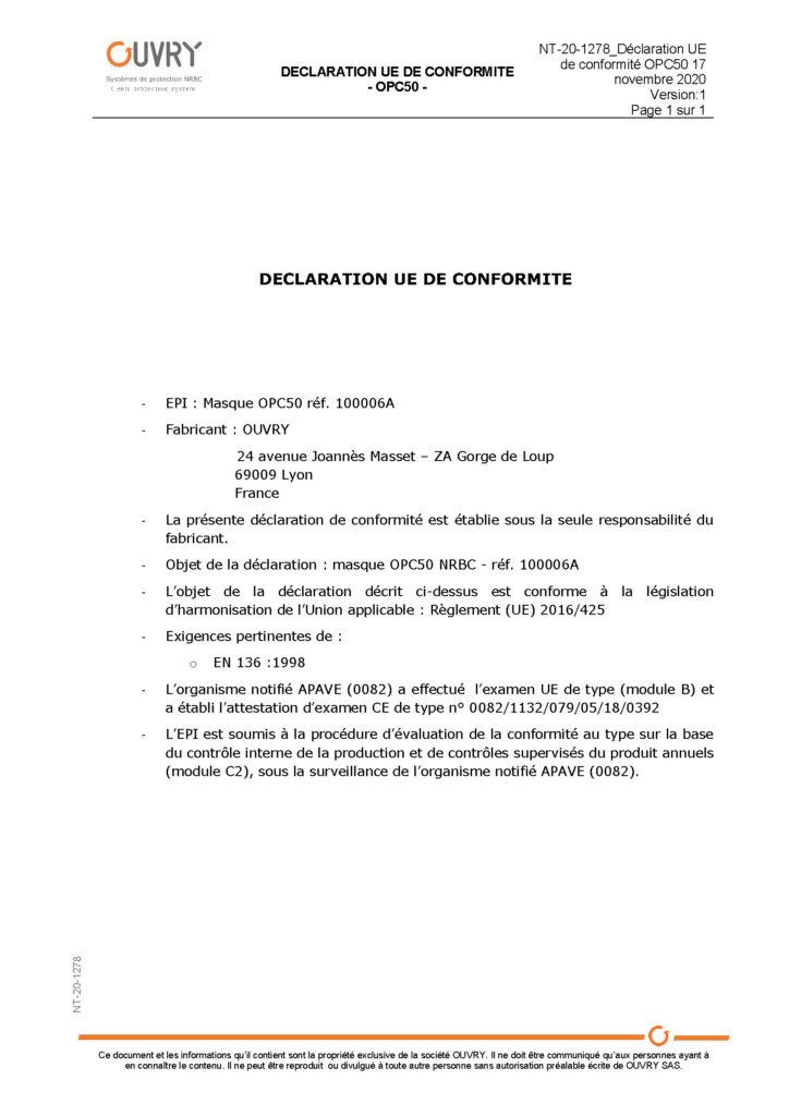 Déclaration UE de conformité OPC50 - 17 novembre 2020