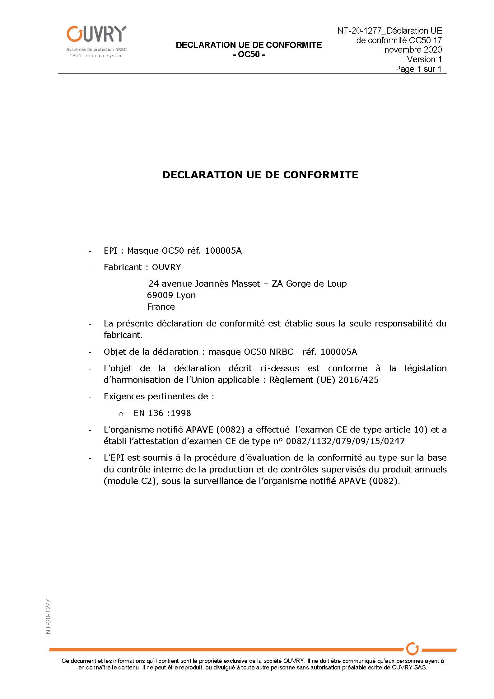 Déclaration UE de conformité OC50